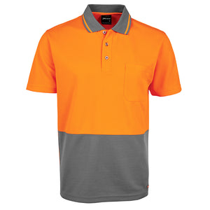 The Non Cuff Hi Vis Polo | Mens | Short Sleeve | Orange/Charcoal