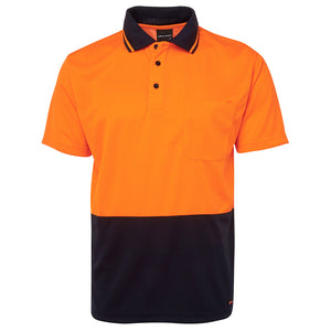The Non Cuff Hi Vis Polo | Mens | Short Sleeve | Orange/Navy