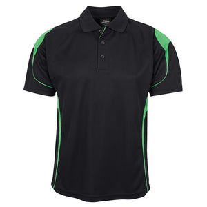 The Bell Polo | Mens | Short Sleeve | Black/Pea Green
