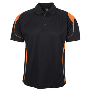 The Bell Polo | Mens | Short Sleeve | Black/Orange