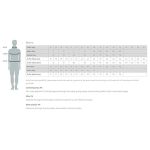 Gloweave Mens Sizing Guide