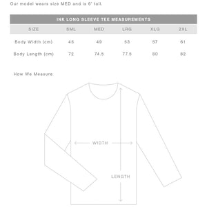 The Ink Tee | Mens | Long Sleeve | Sizing Guide