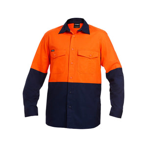Work Cool 2 Spliced Shirt | Orange/Navy