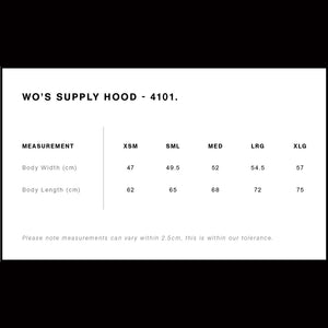 Supply Hood | Ladies Size Guide