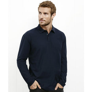 Mens Long Sleeve Crew Polo | Navy