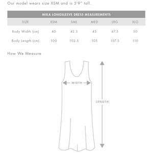 The Mika Dress | Ladies | Long Sleeve | Sizing Guide