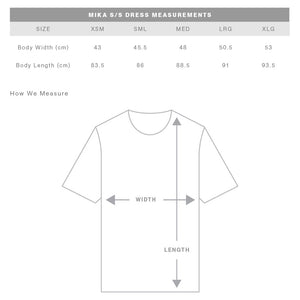 The Mika Dress | Ladies | Short Sleeve | Sizing Guide