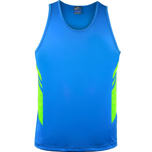 The Tasman Singlet | Mens | Cyan/Neon Green