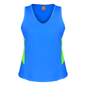 The Tasman Singlet | Ladies | Cyan/Neon Green