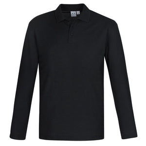 Mens Long Sleeve Crew Polo | Black