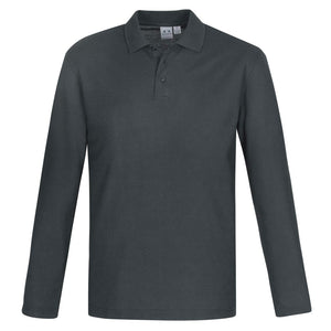 Mens Long Sleeve Crew Polo | Charcoal