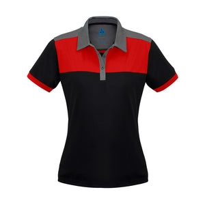 The Charger Polo | Ladies | Short Sleeve | Black/Red/Grey