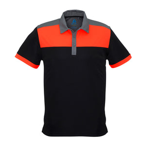 The Charger Polo | Mens | Short Sleeve | Black/Orange/Grey