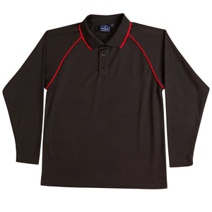 The Champion Polo | Mens | Long Sleeve | Black/Red