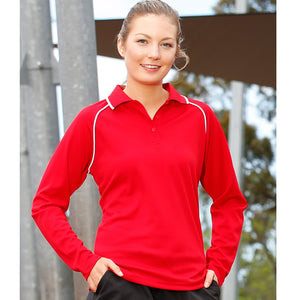 The Champion Polo | Ladies | Long Sleeve | Red/White