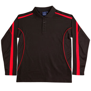 The Legend Polo | Mens | Long Sleeve | Black/Red