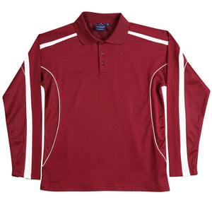 The Legend Polo | Mens | Long Sleeve | Maroon/White