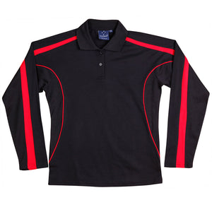 The Legend Polo | Ladies | Long Sleeve | Black/Red