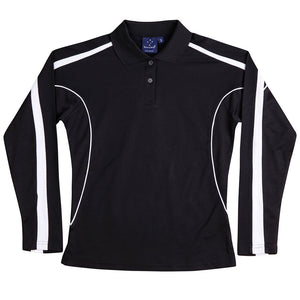 The Legend Polo | Ladies | Long Sleeve | Black/White