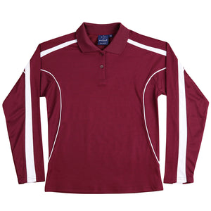 The Legend Polo | Ladies | Long Sleeve | Maroon/White
