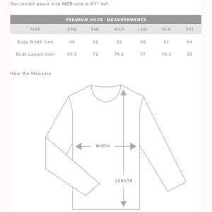 The Premium Hoodie | Adults | Pullover | Sizing Guide