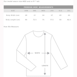 The Premium Crew Jumper | Adults | Sizing Guide
