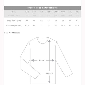 The Stencil Hood | Adults | Pullover | Sizing Guide