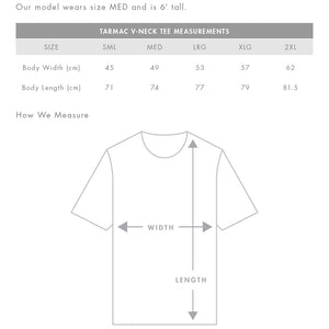 The Tarmac V Tee | Mens | Sizing Guide