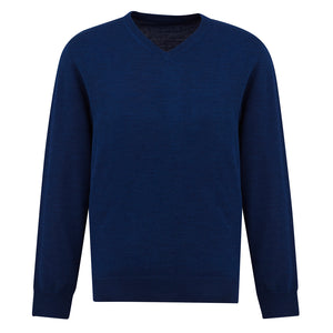 The Roma Knit | Mens  | V Neck Jumper | French Blue