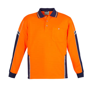 The Squad Polo | Mens | Long Sleeve | Orange/Navy