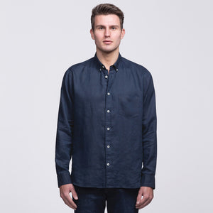Linen Shirt | Mens | Navy