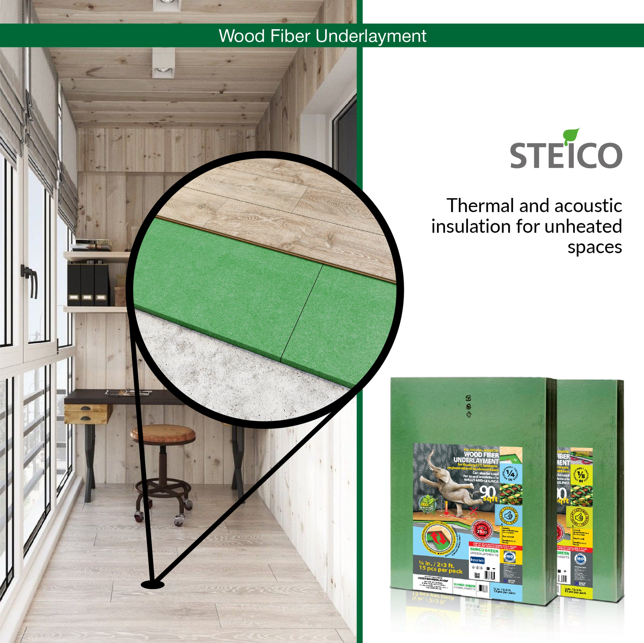 STEICO WOOD FIBER UNDERLAYMENT 1/8 Inch 3 mm 90 SqFt