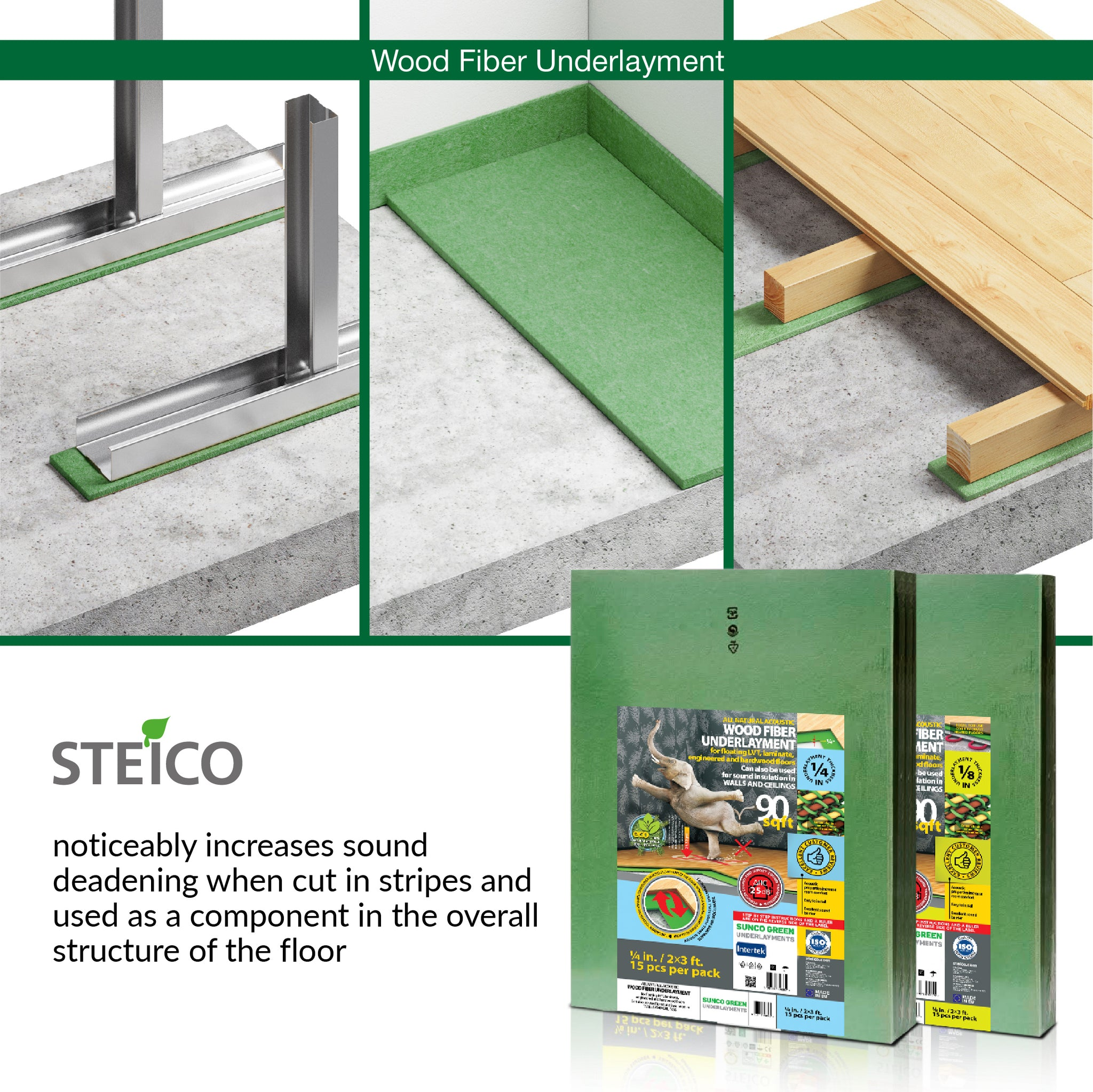 STEICO WOOD FIBER UNDERLAYMENT 1/8 Inch 3 mm 180 SqFt