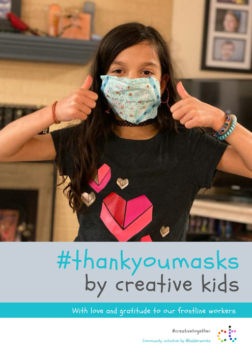 Step 1: draw or make your thank you mask, step 2 share your #thankyoumask