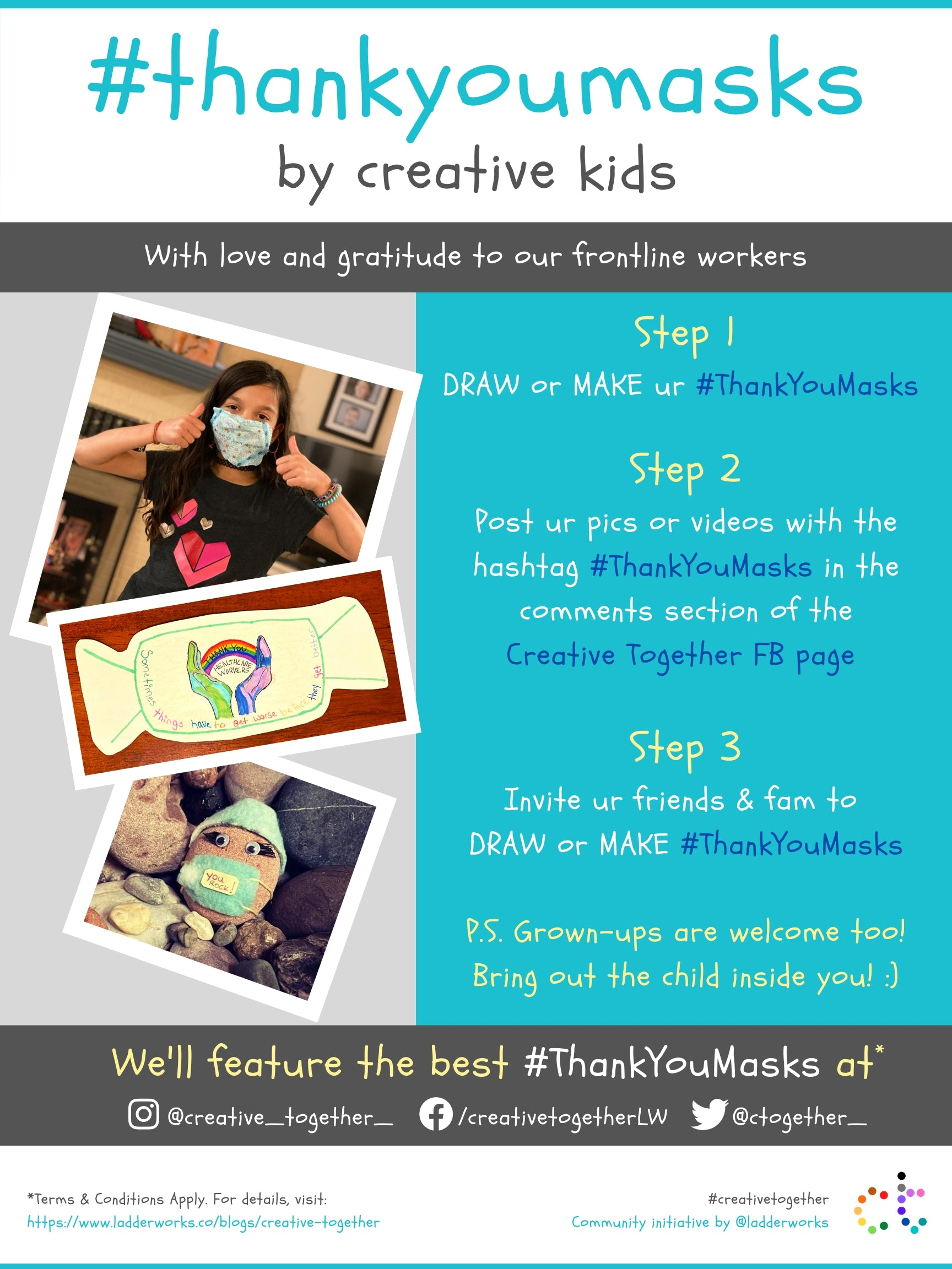 Creative Together Thank You Masks Poster