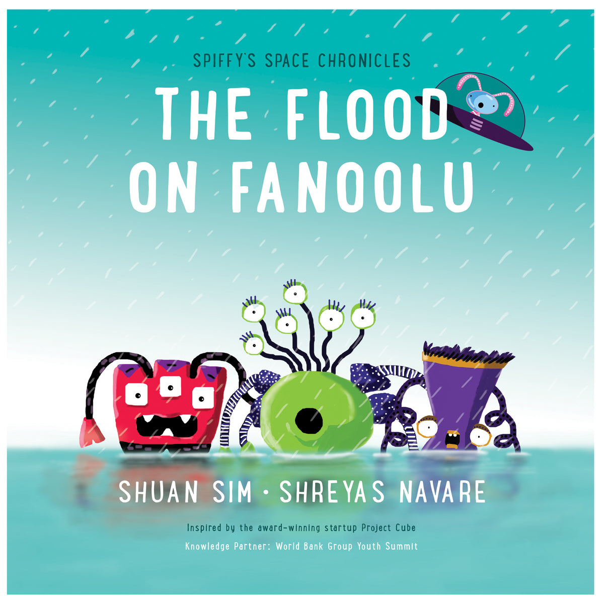 Cover of the book The Flood on Fanoolu featuring Spiffy and 3 other characters