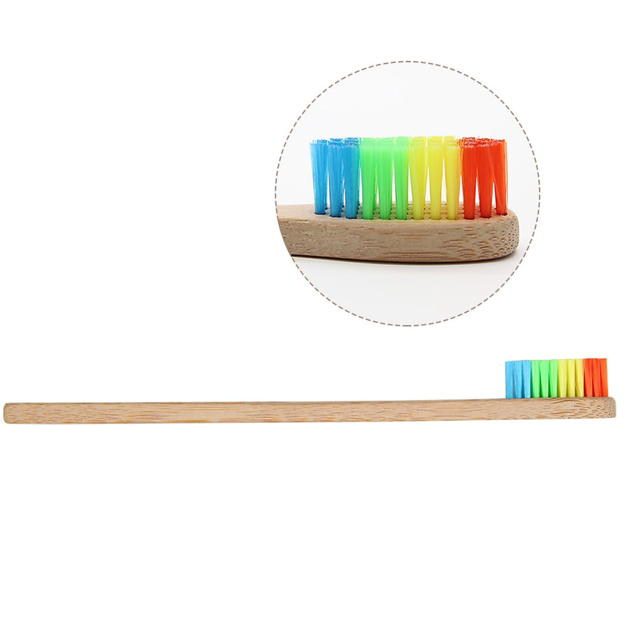 Colorful Head Bamboo Toothbrush - TRAVEL CONPASSION