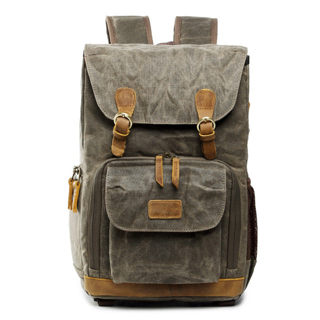 Canvas Waterproof Camera Backpack - TRAVEL CONPASSION