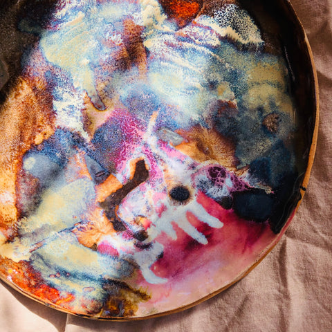 Supernova ceramic platter glazed in deep purples, browns, blues and white