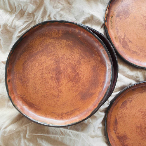 black clay amber side plate