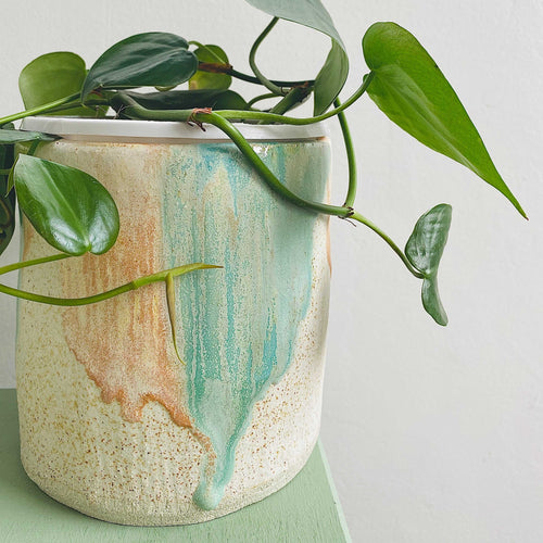 Peach, speckled white and sea foam green large planter