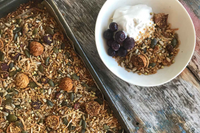 Lupin Granola With Cinnamon, Raspberries and Figs
