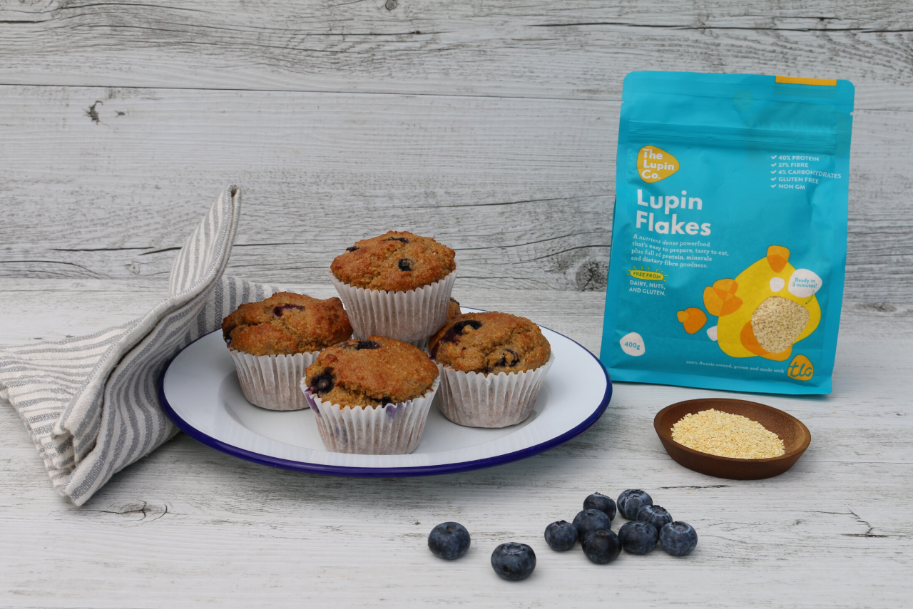 Protein and fibre rich lupin muffins