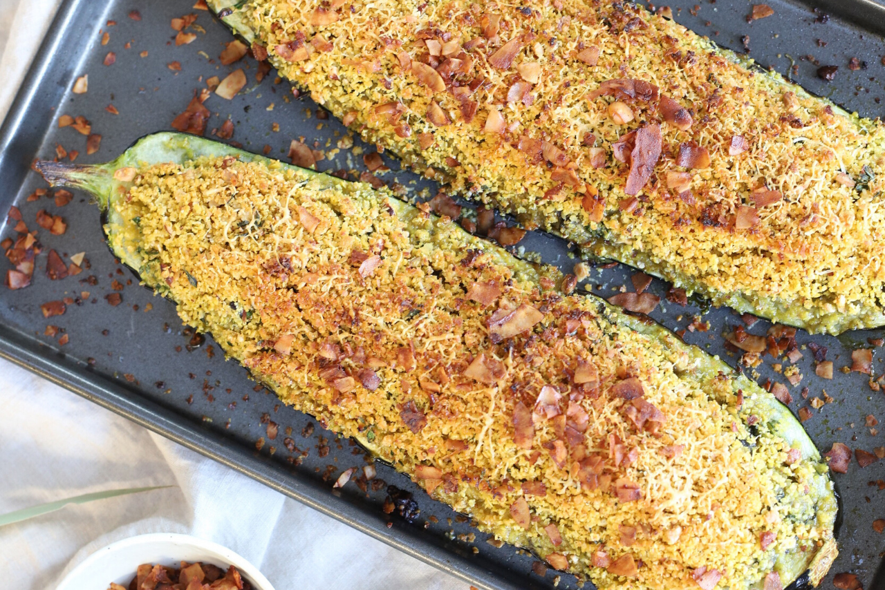 Lupin Stuffed Courgettes