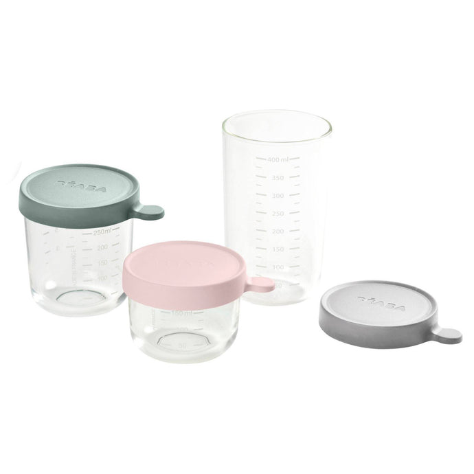 Set of 3 Glass Containers - Cloud