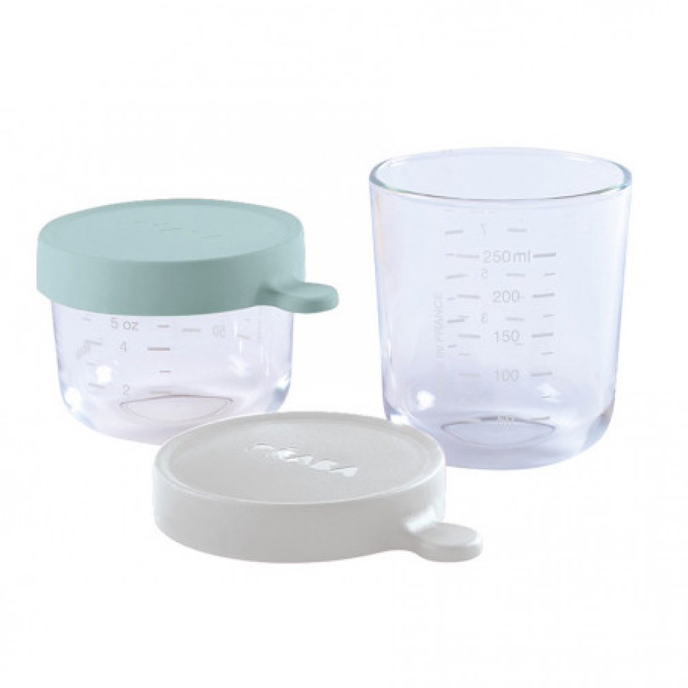 Set of 2 Glass Containers - Cloud/Rain