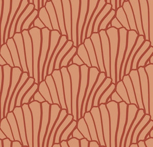 Seashells Terracotta Pink & Burgundy Red Fitted Sheet 70x140cm