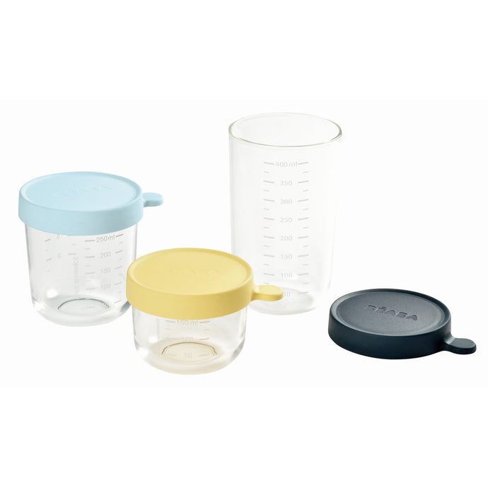 Set of 3 Glass Containers - Midnight