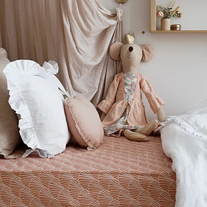 Seashells Terracotta Pink Fitted Sheet 70x140cm