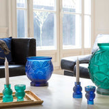 "Blue Candle Holder ""Empreinte"" Daum-Candle Holders-Daum-[Australia]-DA-05589/P-Merry & Modern"